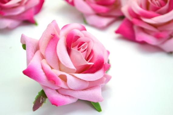 Artificial flowers pink roses faux flowers velvet rose wedding etsy image 0 mightylinksfo