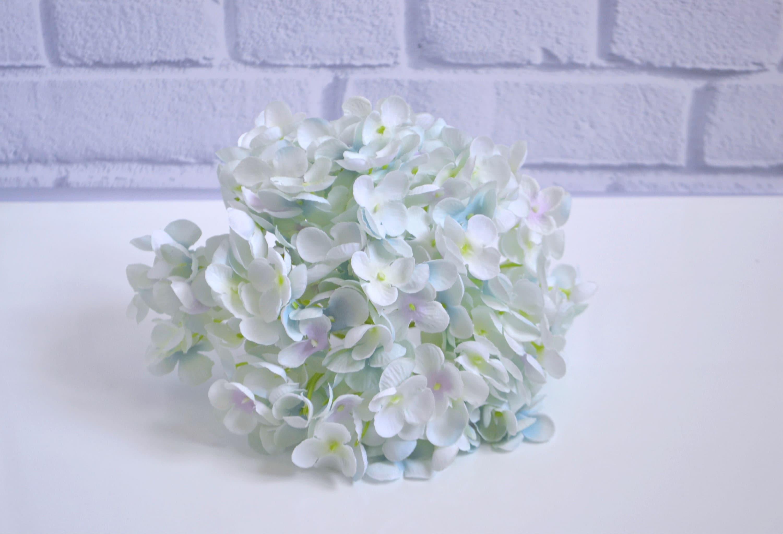 Artificial Hydrangea Sky Blue Flowers Silk Flowers Large Etsy