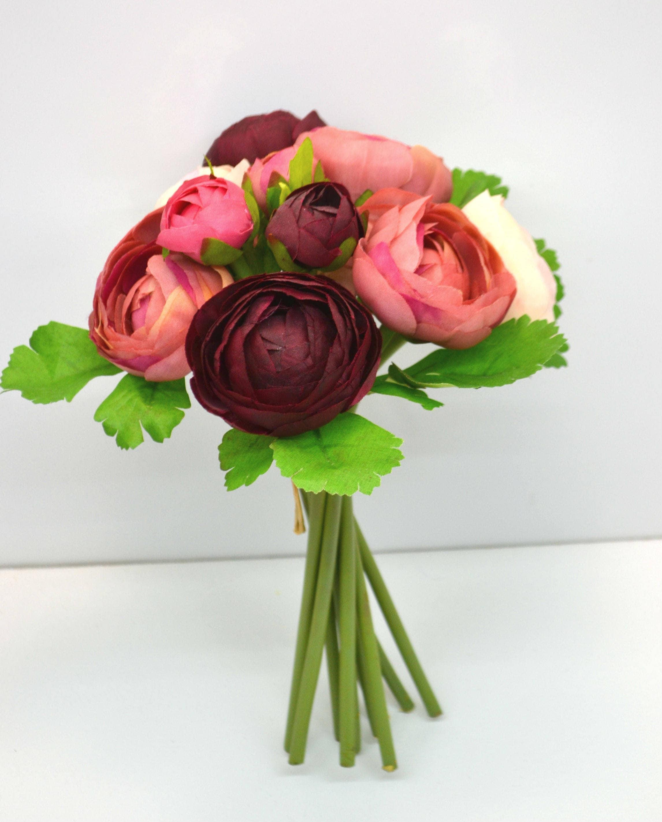 Ranunculus bouquet burgundy flowers wedding bouquets silk flowers crown real touch flowers home decor sold by decorflowershop izmirmasajfo