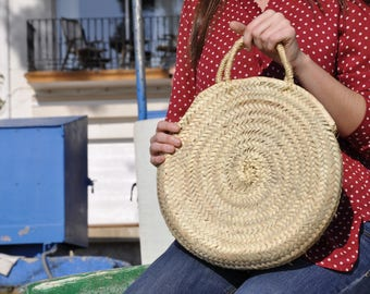 Round Straw bag, Round Basket straw, Round basket, palm tree leaves bag, boho bag, French market basket, french basket, beach bag,