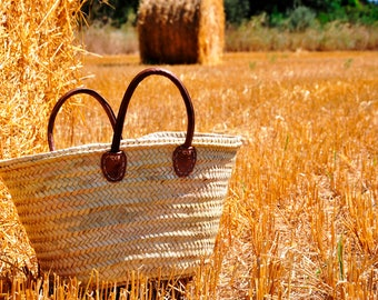straw bag Handmade with leather handles - straw basket, french market bag, Summer carrycot bag, french basket, basket