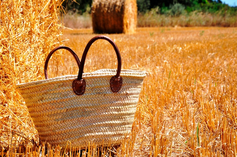 Summer carrycot french basket Straw Market Basket straw bag Handmade with leather handles ref 2 grocery market bag french market bag