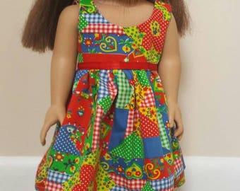 Patchwork design dress for 18 inch Doll fits AG