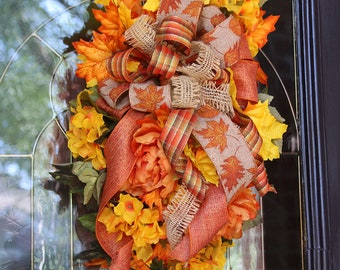 Fall Wreaths For Front Door, Fall Door Swag, Autumn Wreath, Thanksgiving  Decor, Fall Swag, Rustic Farmhouse Swag, Autumn Decor, Fall Wreath