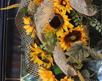 Fall Sunflower Door Wreath, Autumn Swag, Sunflower Door Swag, Farmhouse Fall  Wreath For Front Door, Fall Door Swag, Rustic Farmhouse Decor