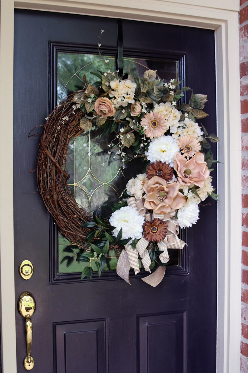 Large Magnolia Wreath Magnolia Wreath Front Door Shabby Chic Etsy