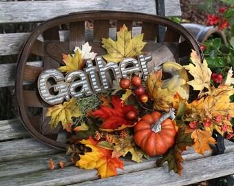 Fall Farmhouse decor, Thanksgiving basket, Harvest basket, Autumn decor, Fall Home Decor, pumpkin gourd, Fall pumpkins, Rustic centerpiece