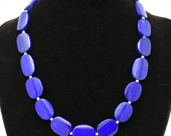 Lapis lazuli oval necklace, AAAA++++ grade, 12mm beads authentic stones Afghanistan, handmade afghan artisans for women, sisters and friends