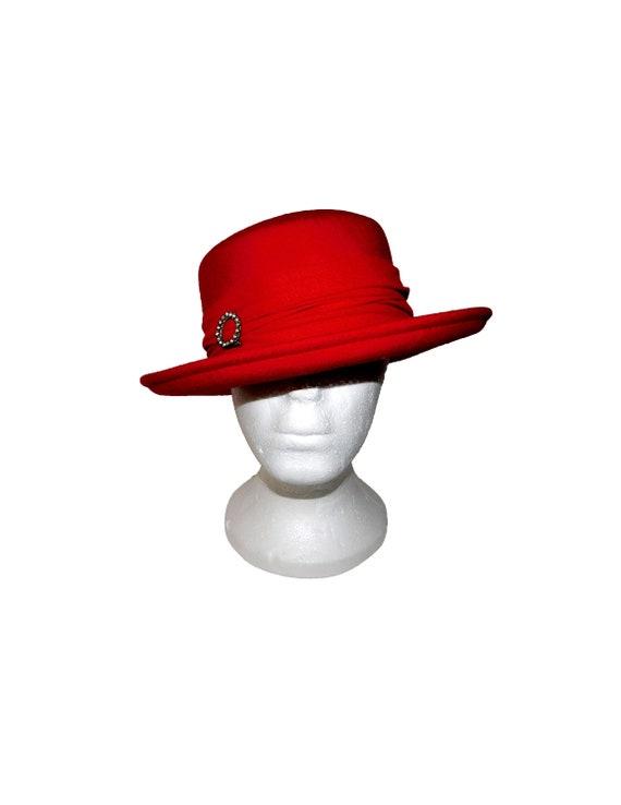 Vintage BOLLMAN HAT Co. 100% Red Wool Doeskin Felt Women s  fa6284491e10