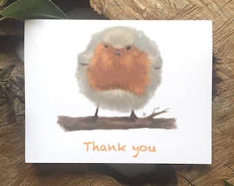 Fluffy Robin Greeting Card | Thank You Card | Bird Card | Bird Thank You Card