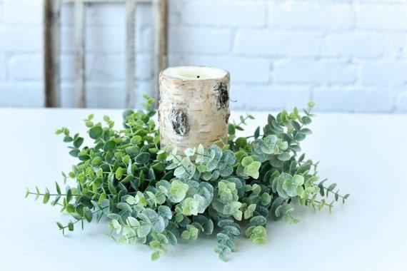Candle Ring Silver Drop Eucalyptus Wreath Beautiful Farmhouse Country Wedding
