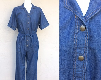 10b04d2ab12 Vintage 80s Denim Jumpsuit  Denim Jumper  Onesie  Blair Boutique  Shoulder  Pads  1980s Jumpsuit  80s Jumper  Medium  Large  Women s