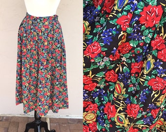 c80ba4ee57 Vintage 90s Chaus Woman Skirt  Floral Skirt  Red Roses  Pleated Skirt   Bright and Fun  Flowers  90s Grunge  1990s