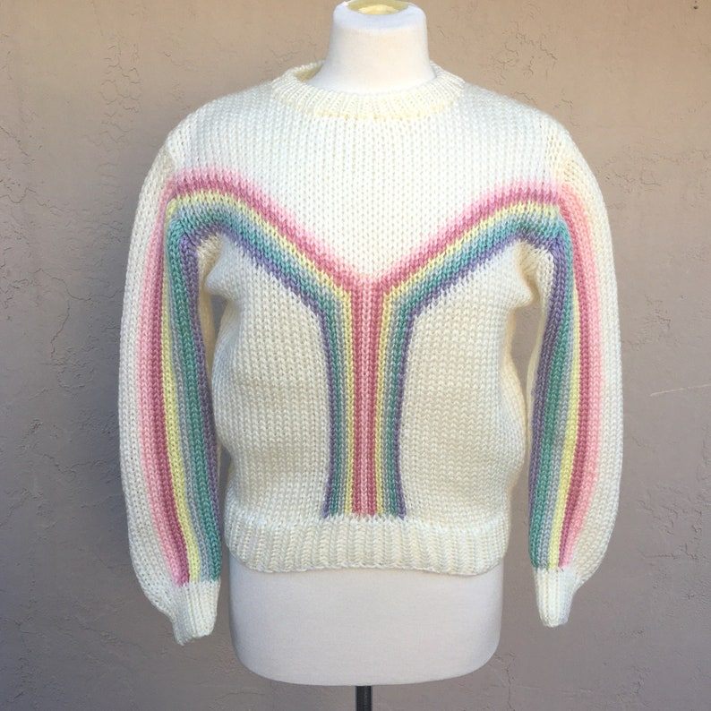 Vintage 80s Pastel Rainbow Sweater 1980s Sweater Early 80s 80s Party Cream Pink Purple Yellow Cristina/'s Acrylic Stripes