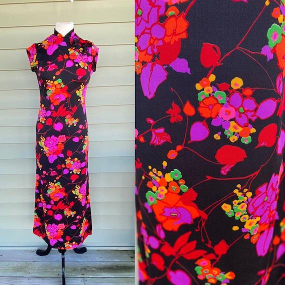 Vintage 60 70s Maxi Dress/ Sleeveless/ Polyester D