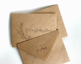 Printed Set of Greenery Wedding Vendor Tip/Gratuity Envelopes