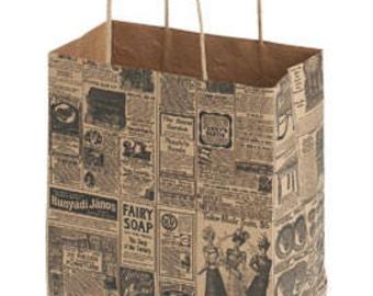 25 Medium Newsprint Paper Shopper 8 x 4 1/2 x 10 1/4 inches