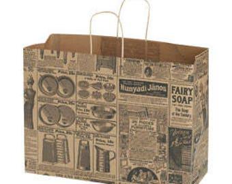 25 Large Newsprint Paper Shopper 16 x 6 x 12 1/2 Inches