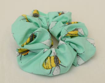 Small mint green scrunchie with bees for kids