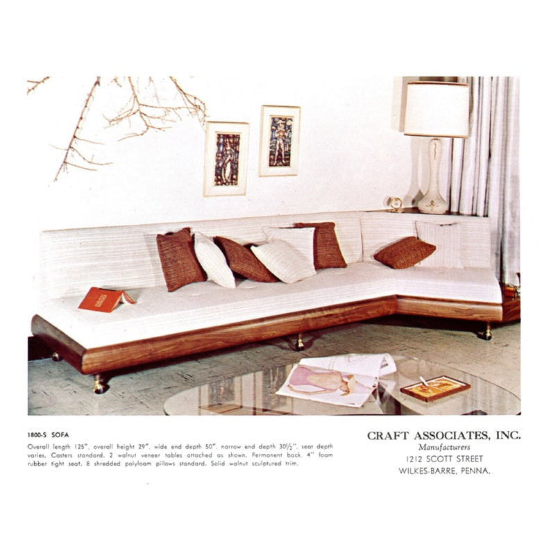 Surprising Vintage Mid Century Modern Adrian Pearsall 1800 S Boomerang Sofa For Craft Associates W Two Table Surfaces Andrewgaddart Wooden Chair Designs For Living Room Andrewgaddartcom