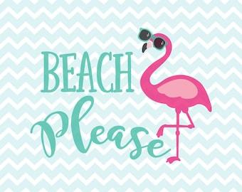 Beach Please SVG and PNG, Flamingo SVG, Sunglasses svg, Beach svg, htv Design, Cricut svg, Silhouette svg