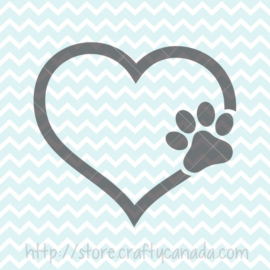 Download I Love My Dog SVG & PNG Paw in Heart Svg and Clipart Dog ...