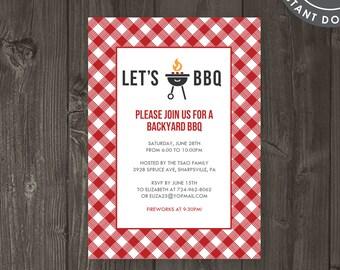 backyard barbecue invitation printable bbq invite backyard etsy