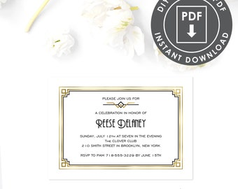 art deco birthday party invitation 1920s theme party etsy
