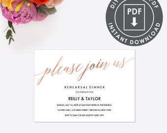 REHEARSAL DINNER INVITATION Instant Download Welcome Party