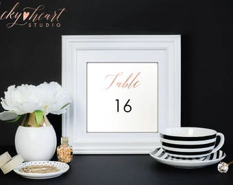 ROSE Gold Table Numbers, Printable Table Numbers, Instant Download Wedding Table Numbers, Printable table number Template, Calligraphy, 005R