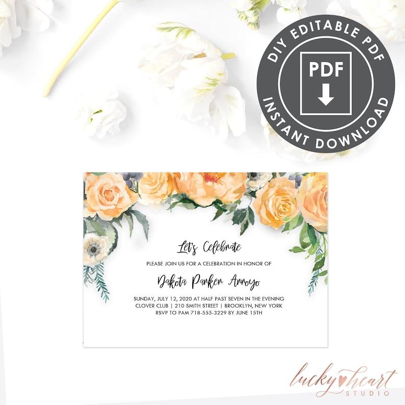 Floral Bachelorette Party Invitation Editable PDF 027