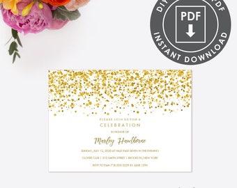 EDITABLE Retirement Party INVITATION, Instant Download Party Invitation, Printable Retirement Party Invitation GoldRetirement PDF 009G