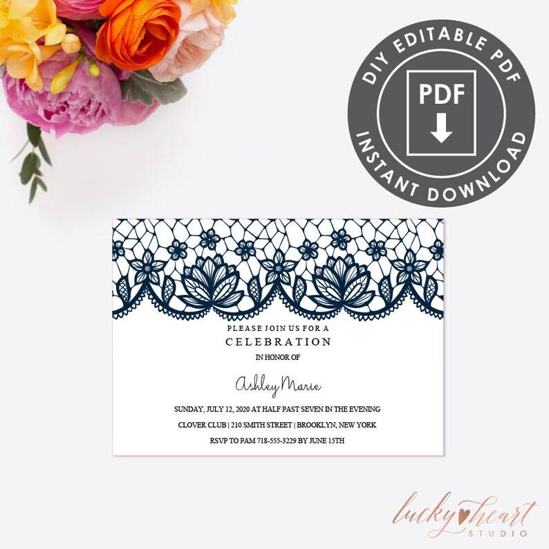 Printable Template Invitation EDITABLE Communion INVITATION Rustic Lace Invite Editable 006N Instant Download Communion Party Invitation