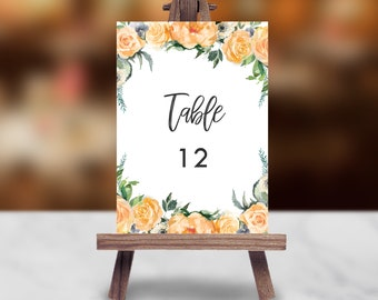 Table Numbers, Printable Table Numbers | Instant Download Wedding Table Numbers | Printable table number Template | Calligraphy | 027
