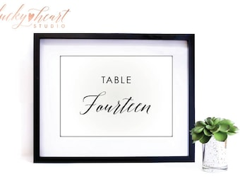 Black Table Numbers, Printable Table Numbers | Instant Download Wedding Table Numbers | Printable table number Template | Calligraphy | 005B