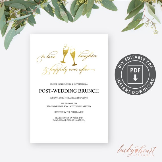 Wedding Brunch Invitation Printable SILVER Post-Wedding Brunch Invitation Champagne Brunch Invite PDF Download BR03 Brunch Invitation