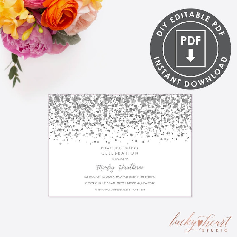 Quinceanera Invitation Instant Download Quinceanera Etsy