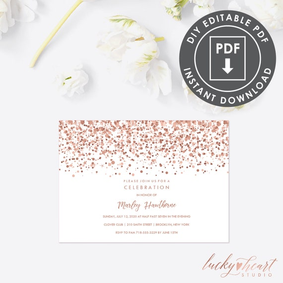 21st Birthday Party Invitation Instant Download Glitter