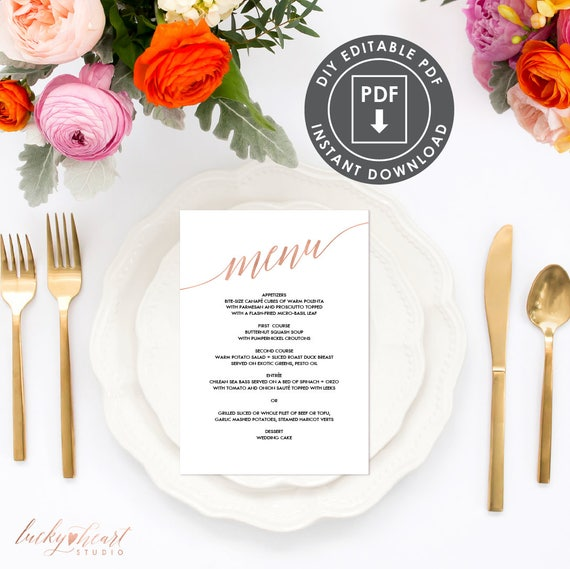 photo regarding Printable Menu Template identified as Rose Gold Printable Menu Template Instantaneous Obtain Wedding day Menu, Printable Menu, Calligraphy Marriage Menu, Do-it-yourself Wedding ceremony Menu Template, 005R