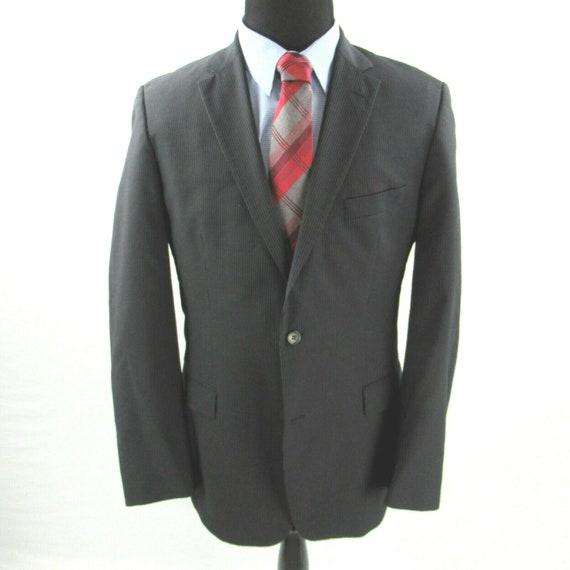1980s Retro Blazer Black White Tan Herringbone Tweed Jacket Size 42 USUK European Vintage Hugo Boss Blazer