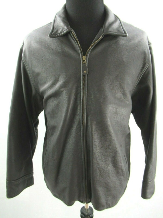 Eddie Bauer Black Brown Leather Bomber Jacket Mens