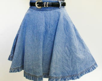 Vintage 80s Guess light wash denim circle mini skirt
