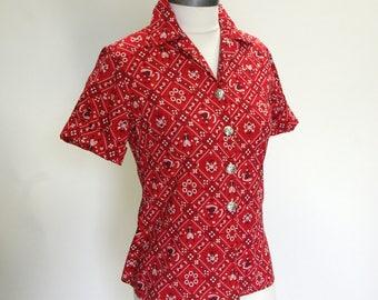 Vintage bandana print rockabilly blouse bavarian dancers