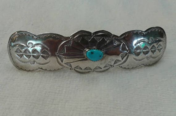 Vintage Turquoise & Silver Barrette