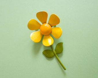 Yellow flower brooch etsy flower power pin mod flower yellow flower brooch mightylinksfo