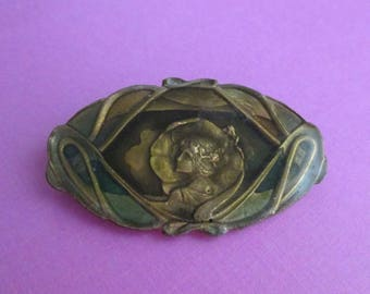 Art Nouveau Revival Pin - Figural Woman - Designer Signed