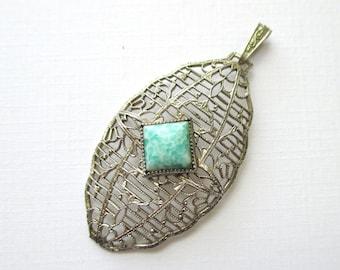 Art Deco FIligree and Peking Glass Pendant