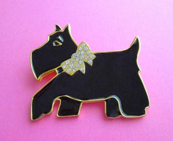 Well Dressed Designer Scottie Dog Pin - Signed Dot