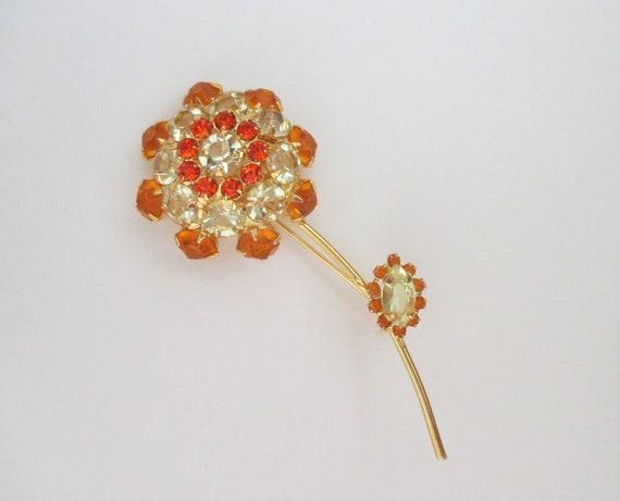 Vintage Golden Yellow and Orange Rhinestone Leaf Pin and Earring Set Item K # 3238