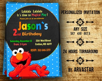 Elmo Invitation Birthday Sesame Street 1st
